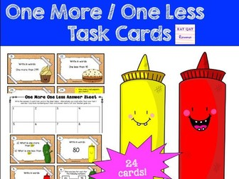 One More One Less Year One Maths Task Cards