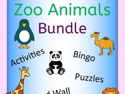 Zoo Animals Activities, Puzzles, Word Wall, Bingo Bundle for zoo topic or EFL