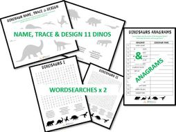 Dinosaur name, trace & design activity, wordsearches + anagrams