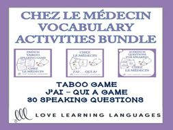 GCSE FRENCH: Chez le Médecin - Vocabulary Speaking Activities BUNDLE