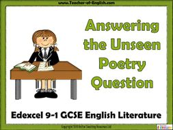 edexcel unseen poetry 9 1 gcse english literature powerpoint and worksheets by online teaching. Black Bedroom Furniture Sets. Home Design Ideas