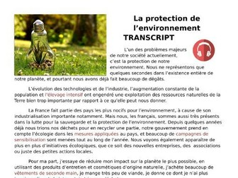 La protection de l'environnement (environment) - French Listening Revision and Transcript