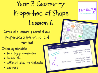 6. Geometry: parallel and perpendicular lesson pack (Y3)