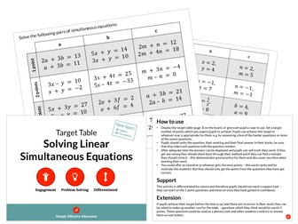 Solving Linear Simultaneous Equations (Target Table)