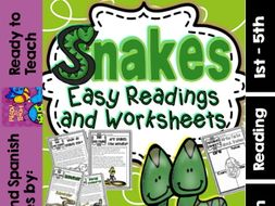 Snakes ( Ready to Print Easy Readings and Worksheets)