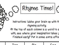 Rhyme Time Starter/Plenary