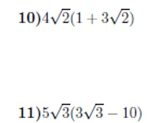 Multiplying out brackets including surds worksheet no 4 (with solutions)