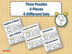 Telling Time Puzzles - 3 Pieces Per Puzzle