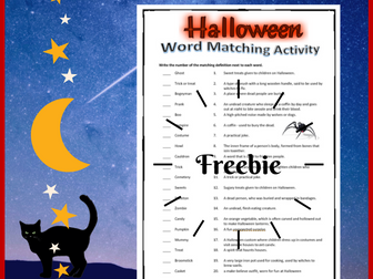 Halloween Word Match Activity with Answer Key - Free