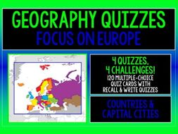 GEOGRAPHY EUROPE COUNTRIES & CAPITAL CITIES 4 QUIZZES, 4 CHALLENGES!