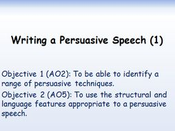 Writing a Persuasive Speech. 2 Lessons. Edexcel GCSE Language 1-9. A02, A05.