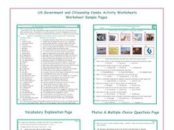 US Government and Citizenship Combo Activity Worksheets