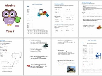 Algebra Booklet for Year 7 Students