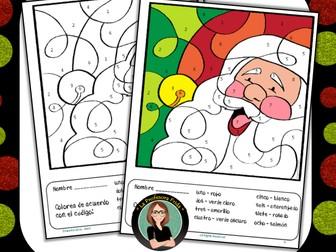 Spanish Color By Number Santa / Christmas / Papa Noel / Navidad