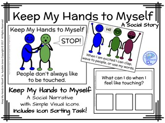 Keep My Hands to Myself- A Social Story for Autism Units with Comprehension Questions!