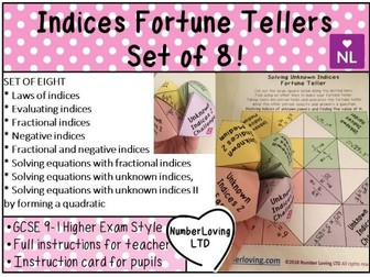 Fractional and Negative Indices Fortune Tellers GCSE 9-1