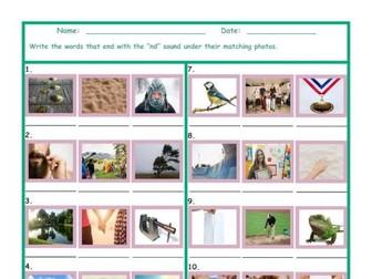 Phonics Final Consonant Cluster ND Photo Worksheet