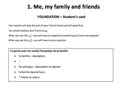 GCSE role-plays - Me, my family and friends