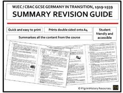 Germany in Transition Revision Guide Summary