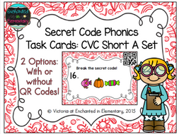 Secret Code Phonics Task Cards: CVC Short A Set