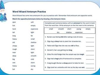 Word Wizard Basic Antonyms Exercises