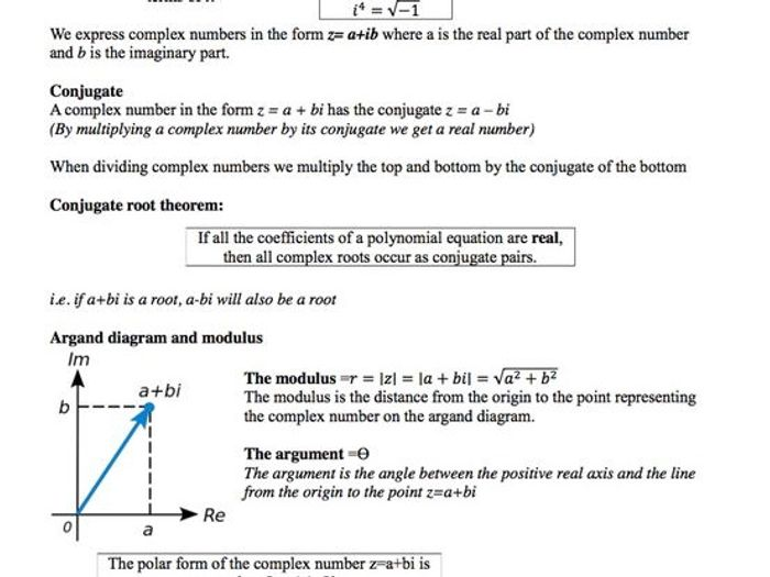 Revision notes on Complex numbers by sarahjean26 - Teaching ...