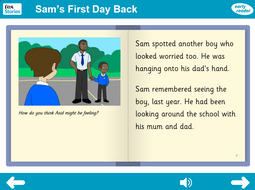 Sam's First Day Back Interactive Storybook - Early Reader Level - PSHE KS1