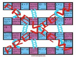 Cardinal and Ordinal Numbers Chutes and Ladders Board Game