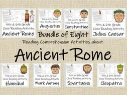 UKS2 History - Bundle of 8 Ancient Rome Reading Comprehension Activities