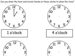 O Clock Drawing Hands On Clocks 2 Worksheets By Tar00 Teaching