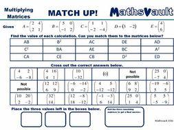 Multiplying Matrices Match Up worksheet