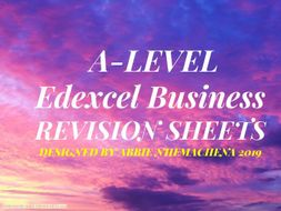 A-Level Edexcel Business Theme 2 Revision Sheets: Managing business activities
