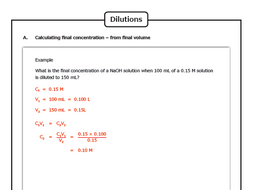 The Mole Concept: Dilutions of Chemical Solutions