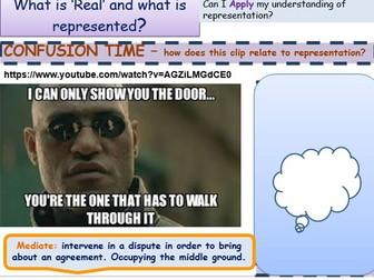 Media Introduction to Representation 1 Re-presentation reality GCSE Media Studies UNIT 1 Media Exams