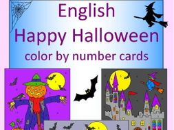 Halloween color by number cards - UK and US spelling versions