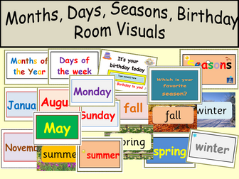 Room Visuals Birthday  display, 4 Seasons, Months of the Year, Days of the Week Room Visuals