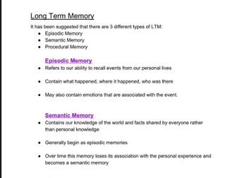 Long Term Memory Revision