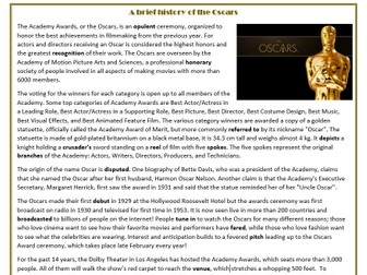 A brief History of The Oscars - Reading Comprehension Worksheets