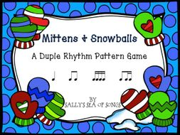 Mittens & Snowballs Duple Rhythm Patterns Koosh Ball Game Level 2