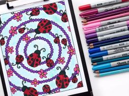 "Ladybugs Coloring Page | Printable PDF 8.5x11"" Coloring Page"