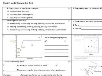 Edexcel CC8 Chemistry Knowledge Assessment
