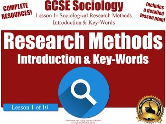 Sociological Research Methods - Introduction & Key-Words (GCSE Sociology L1/10)
