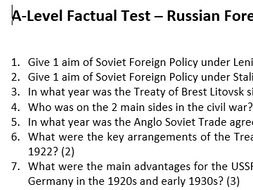 Russian Foreign Policy Test up to 1939