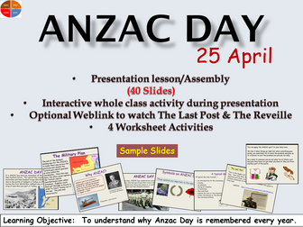 ANZAC Day Presentation Lesson/Assembly, Worksheets/Follow-up Activities