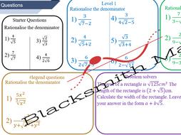Rationalising the denominator (Binomials) - lesson bundle