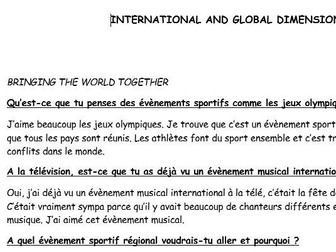 GCSE French conversation questions with model answers (International and Global dimension)