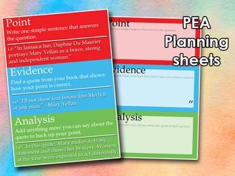 KS3/4 English - PEA Planning Sheet