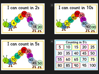 Counting in 2s, 5s and 10s - display posters - EYFS, KS1, YEAR 1 Numeracy Resource