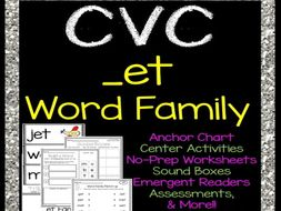 CVC -et Word Family Printables, Centers, Decodable Book, Assessments & More