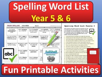 Spelling Activities Year 5 and 6